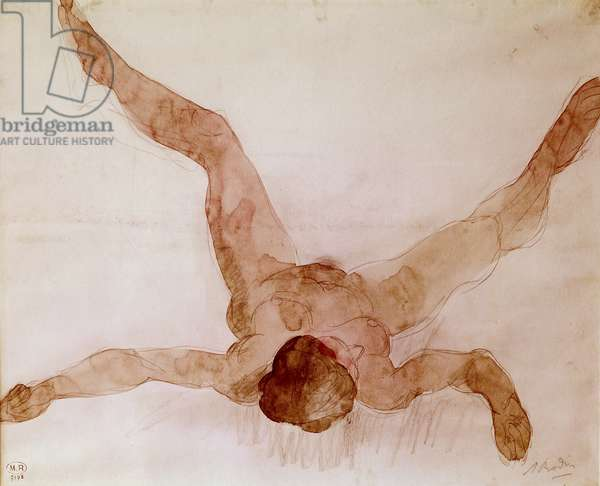 Nude Female Lying on her Back (w/c on paper)