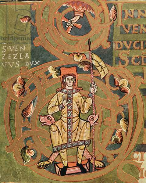 Ms XIV A 13-1 St. Wenceslaus (907-929) from the Vysehrad Codex, c.1085 (vellum)