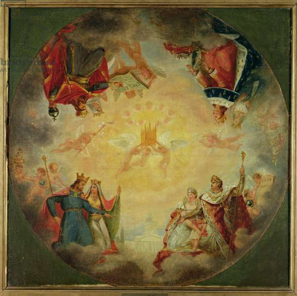Glory of St. Genevieve, study for the cupola of the Pantheon, c.1812 (oil on canvas)
