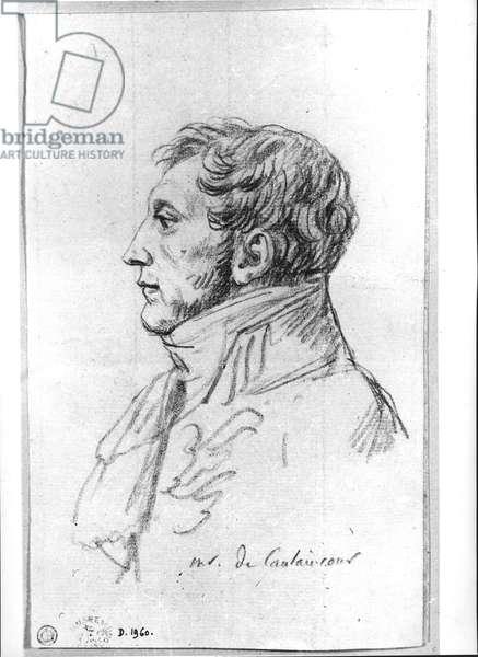 Portrait of Armand Augustin Louis. Marquis de Caulaincourt (1772-1827) (pencil on paper) (b/w photo)