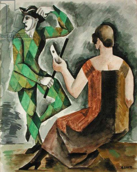 Woman and Harlequin or, Homage to Watteau, 1918 (w/c on paper)