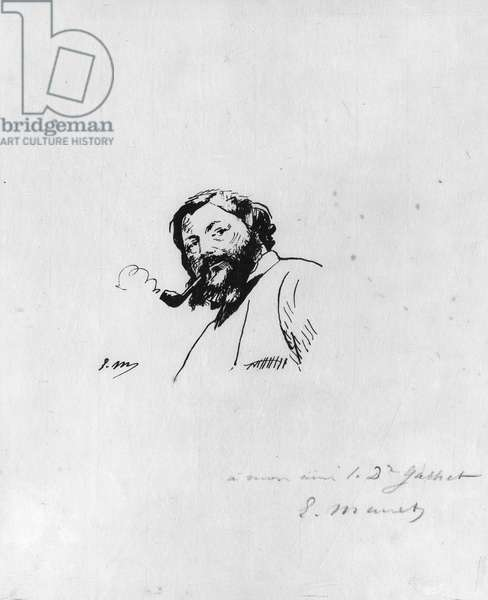 Portrait of Gustave Courbet (pen & ink on paper) (b/w photo)