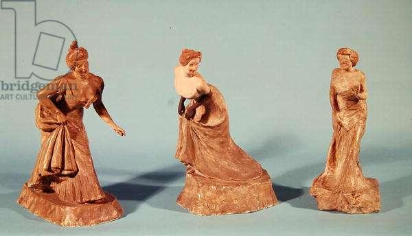 Statuettes of Jeanne Granier (1852-1939) 1899, Yvette Guilbert (1867-1944) 1899 and Rejane (1856-1920) 1902 (plaster)