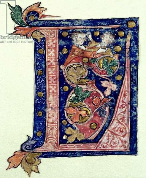 Historiated Initial 'L' (vellum)