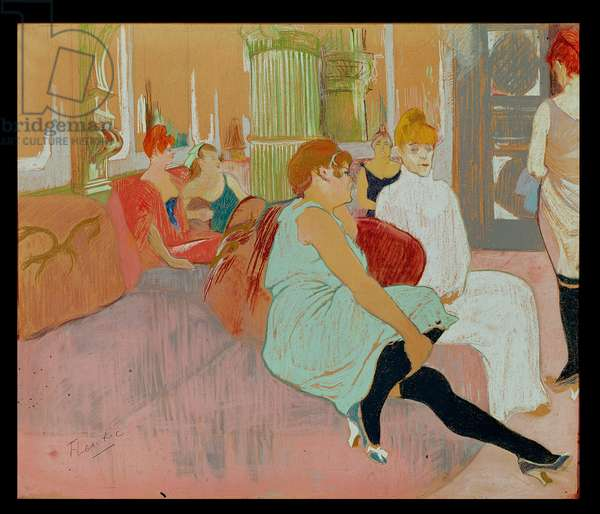 In the Salon at the Rue des Moulins, 1894 (pastel on paper)