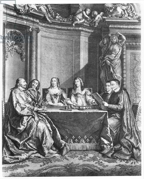 St. Vincent de Paul (1581-1660) and Cardinal Jules Mazarin (1602-61) at the Conseil de Conscience of Louis XIV (1638-1715) engraved by Gerard Scotin (1643-1715) c.1660 (engraving) (b/w photo)