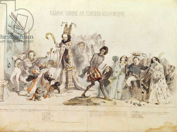 The Great Academic Competition, caricature of the Academie Francaise (colour litho)