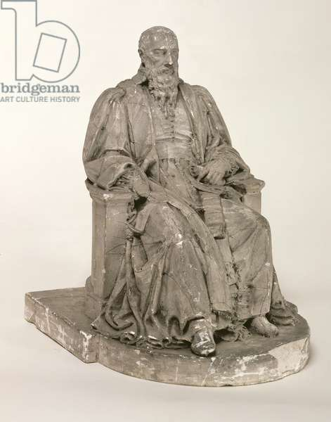 Seated statue of Michel de L'Hospital (c.1504-73) (stone)