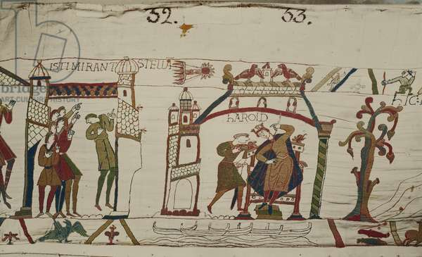 Halley's Comet and Harold Receiving Bad News, Bayeux Tapestry (wool embroidery on linen)