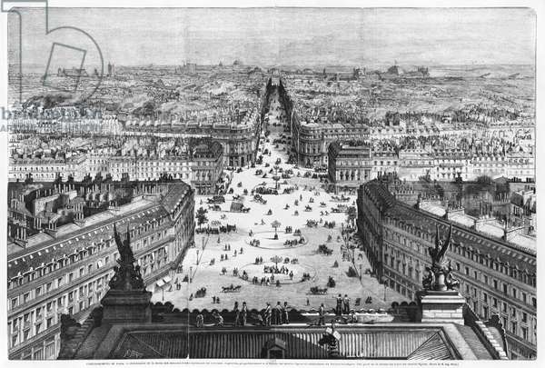 Improvements to Paris, opening of Avenue Napoleon after the building of the Butte des Moulins, 1877 (engraving) (b/w photo)
