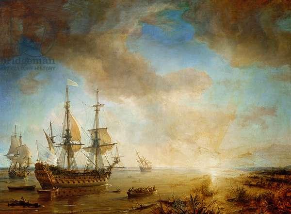 Expedition of Robert Cavelier de La Salle (1643-87) in Louisiana in 1684, 1844 (oil on canvas)