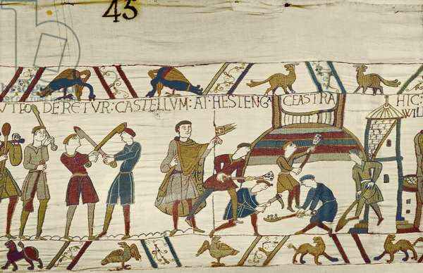 Normans construct fortifications at Hastings, Bayeux Tapestry (wool embroidery on linen)