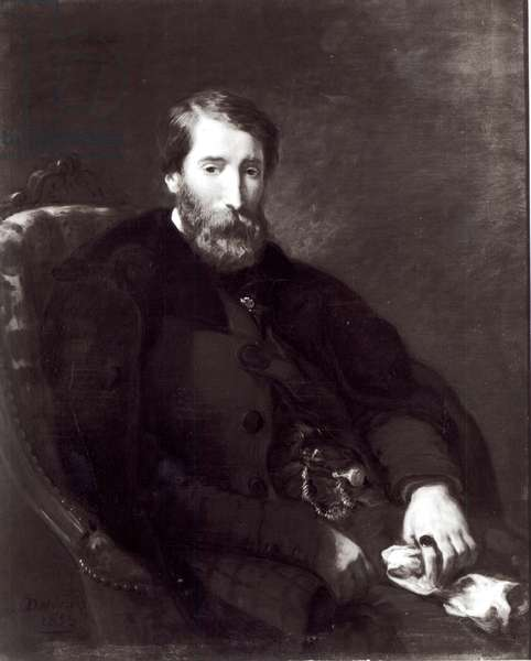 Portrait of Alfred Bruyas (1821-77) (oil on canvas) (b/w photo)