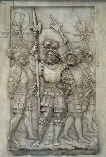 Halberdiers, detail from the Tomb of Francois I and Claude de France, commissioned in 1548 (marble)