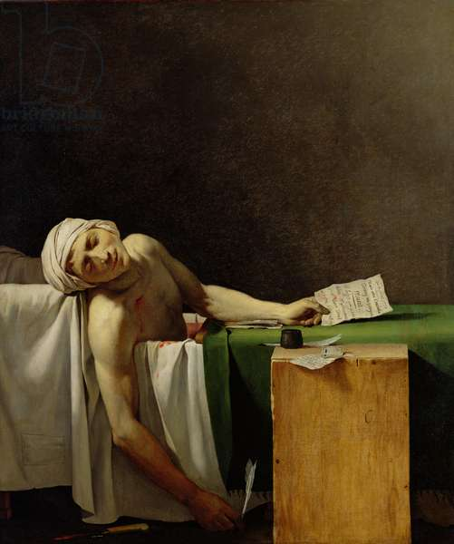 The Death of Marat, after the original by Jacques-Louis David (1748-1825) (oil on canvas)