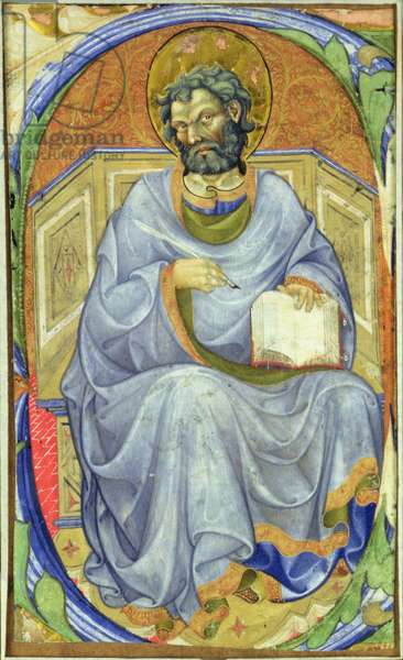 Historiated initial 'S' depicting a seated Evangelist (vellum)