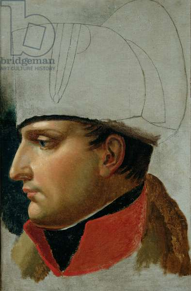 Unfinished Portrait of Napoleon I (1769-1821) formerly attributed to Jacques Louis David (1748-1825) 1808 (oil on canvas)