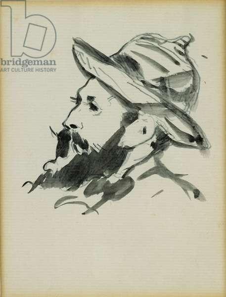 Head of a Man (Claude Monet) 1874 (pen & ink wash on paper)