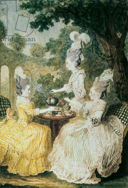 La Marquise de Montesson, La Marquise de Crest and la Comtesse de Damas drinking tea (watercolour on paper)