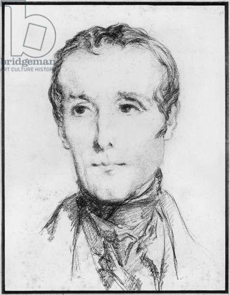 Portrait of Alphonse de Lamartine, c.1848 (pencil on paper)