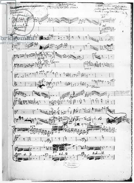 Opening page of the score of 'Les Paladins', opera by Rameau (pen & ink on paper)