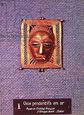 Pendant of a human mask on an openwork rectangle, from the Ivory Coast, 18th-20th century (gold)