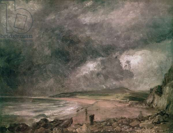 Weymouth Bay with Approaching Storm (oil on canvas)
