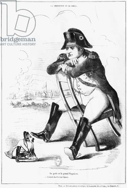 La Grenouille et le Boeuf : The Small and the Large Napoleon I, caricature from 'The Puppet Show' (engraving)