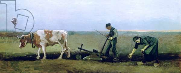 Labourer and Peasant Planting Potatoes, 1884 (oil on canvas)
