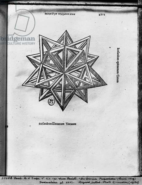 Dodecahedron, from 'De Divina Proportione' by Luca Pacioli, published 1509, Venice (engraving) (b/w photo)