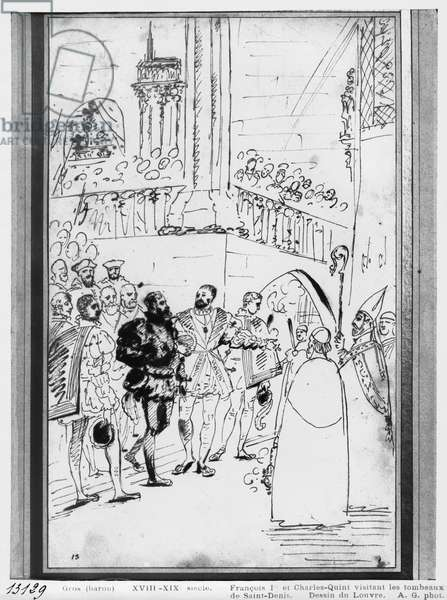 Francis I and Charles V at the Abbey Church of Saint-Denis, c.1811 (pen & brown ink & graphite on paper)