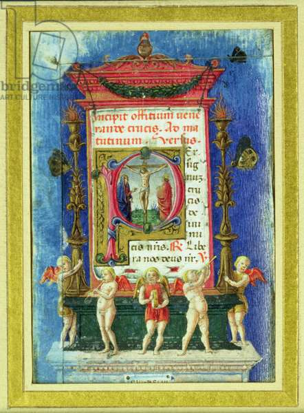 Historiated initial 'P' depicitng the Crucifixion, page from a Book of Hours (vellum)