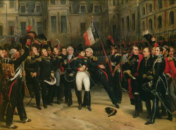 Napoleon I (1769-1821) Bidding Farewell to the Imperial Guard in the Cheval-Blanc Courtyard at the Chateau de Fontainebleau, 20th April 1814, 1825 (oil on canvas)