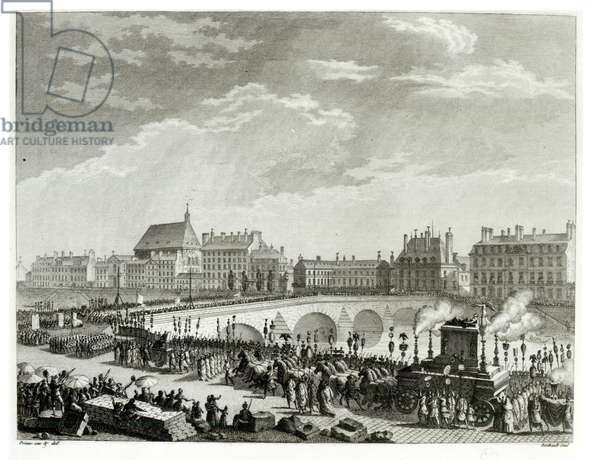The Triumph of Voltaire, 11th July 1791, engraved by Pierre Gabriel Berthault (1737-1831) (engraving) (b/w photo)