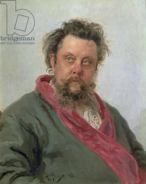 Portrait of Modest Petrovich Moussorgsky (1839-81) 1881 (oil on canvas)
