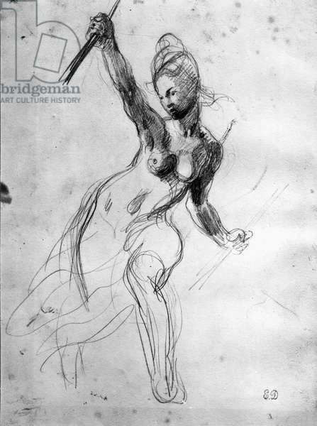 Female Nude, study for Liberty Leading the People (pencil on paper) (b/w photo)