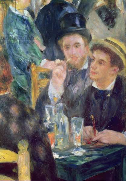 Ball at the Moulin de la Galette, detail of two seated men, 1876 (oil on canvas)