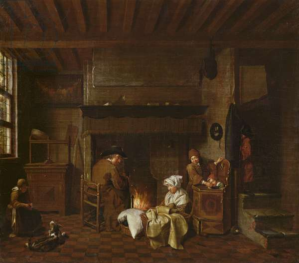 Interior scene, next to the chimney (oil on canvas)