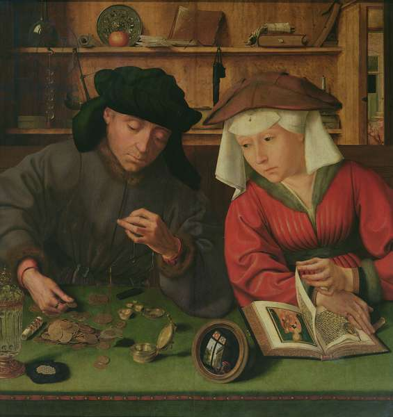 The Money Lender and his Wife, 1514 (oil on panel)