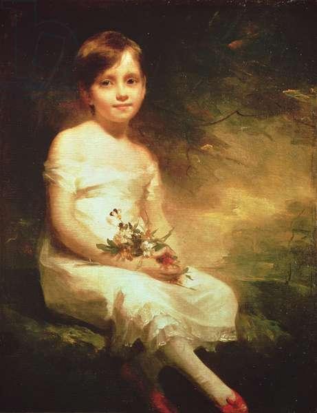 Little Girl with Flowers or Innocence, Portrait of Nancy Graham (oil on canvas)