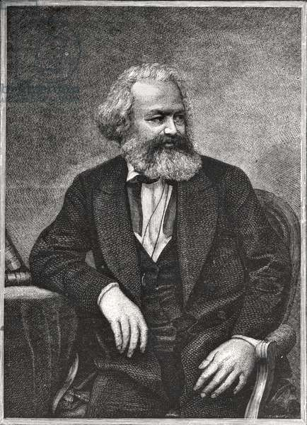 Portrait of Karl Marx (1818-83) 1857 (litho) (b/w photo)