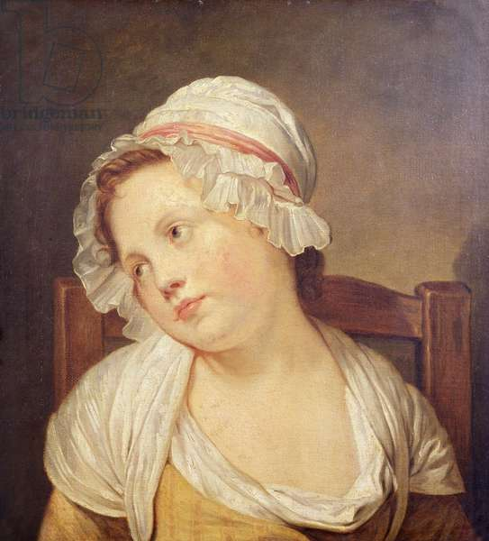 Young Girl in a White Bonnet (oil on canvas)