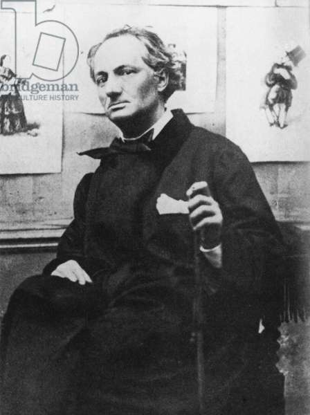 Charles Baudelaire (1821-67) with Engravings, c.1863 (b/w photo)