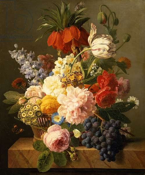 Still Life with Flowers and Fruit, 1827 (oil on canvas)