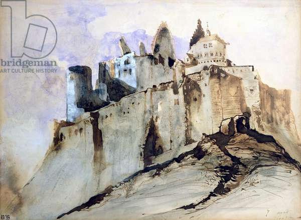 The Chateau of Vianden, 1871 (w/c, pen & ink and wash on paper)