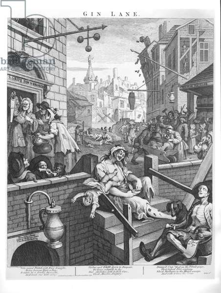 Gin Lane, 1751 (engraving) (b/w photo)