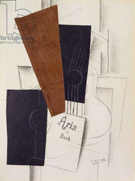 Bach's Aria, 1913 (collage & pencil on paper)