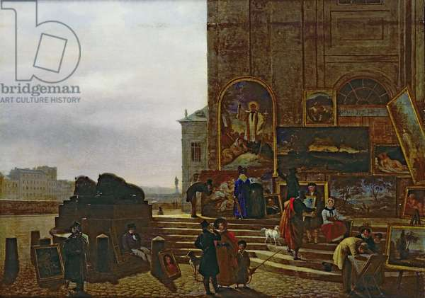 Selling Paintings Outside the Institut de France, 1837 (oil on canvas)