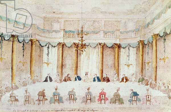 Festive Dinner Given to Celebrate the Marriage of Armand (1771-1847) Duke of Polignac to the Baroness Idalia of Neukirchen at Villa Gradenigo, Carpenedo, 1790 (w/c over graphite with pen & ink on paper)