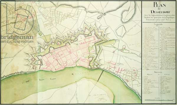 Map of Dusseldorf, 1797 (pen & ink on paper)